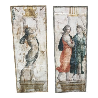 Pompeiana Panels on Canvas - A Pair