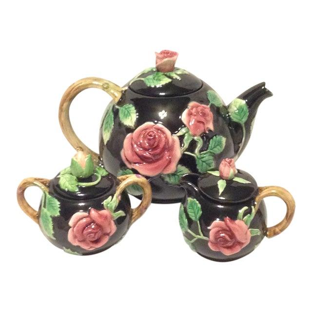 Fitz and Floyd Midnight Rose Tea Pot, Sugar, & Creamer - Image 1 of 8