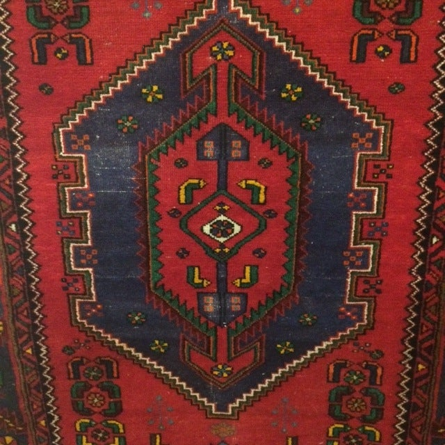 Vintage Blue and Red Persian Rug - 3′12″ × 6′2″ - Image 4 of 5