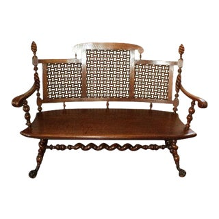 Merklen Brothers Antique Oak Hall Bench, Circa 1885