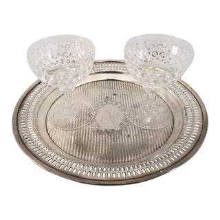 Antique Cut Crystal Sherbet/Champagne Glasses & Tray - Set of 3