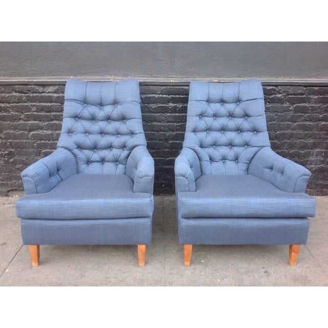Mid-Century Tufted Blue Lounge Chairs - A Pair - Image 2 of 7