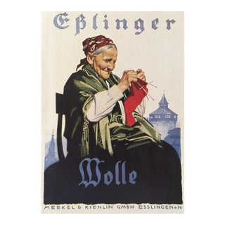 1927 German Art Deco Mini Poster, Eplinger Wool