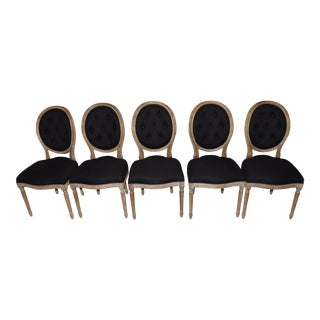 Louis XVI Style Black Tufted Oval Back Dining Chairs- Set of 5