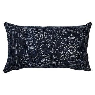 Vintage Dark Indigo Batik Lumbar Pillow