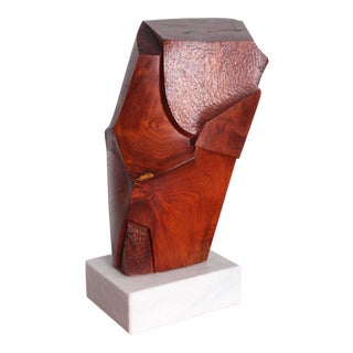 Large Abstract Wood Sculpture on Marble Base