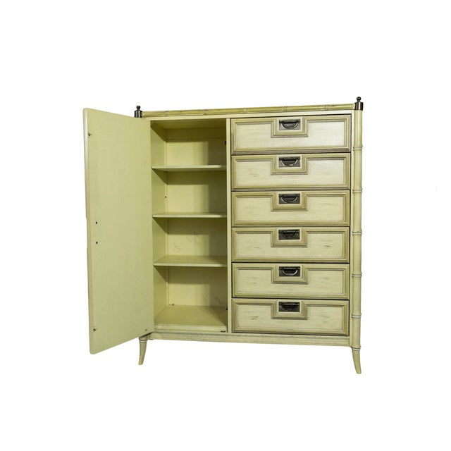 Image of Stanley Yellow Faux Bamboo Campaign Dresser
