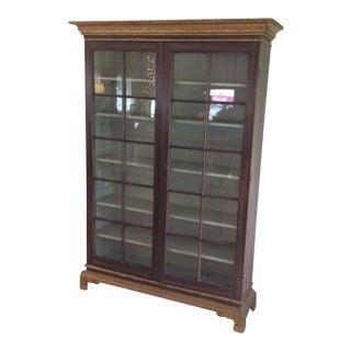 Vintage Hand Painted Glass Door Cabinet