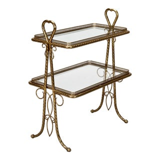 Italian Brass and Glass Two Tier Handled Stand
