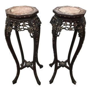 Vintage Mother of Pearl Pedestals - A Pair