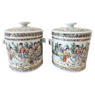Famille Rose Tea Canisters, S/2