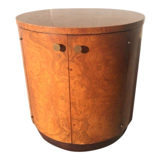 Mid-Century Olive Burl Wood Drum Table Bar Cabinet