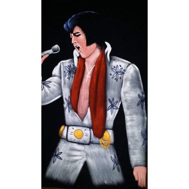 1995 Vintage Large Framed Velvet Elvis Painting - Image 4 of 4