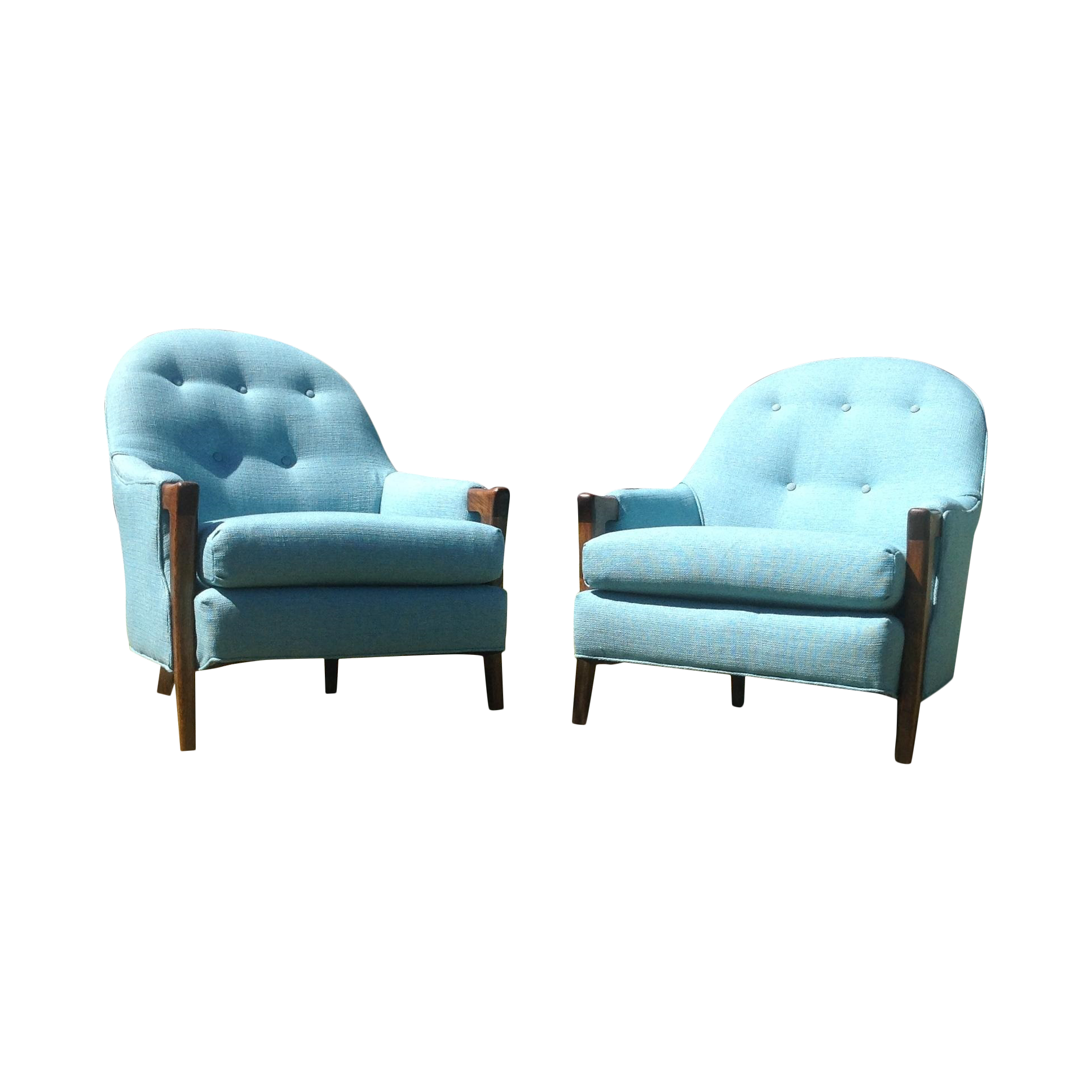 Mid Century Modern Baby Blue Lounge Chairs Pair