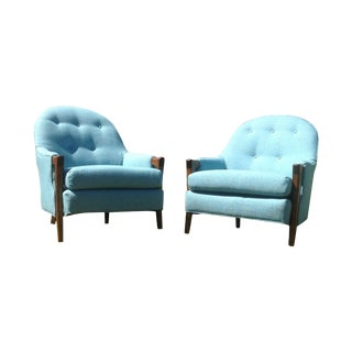 Mid Century Modern Baby Blue Lounge Chairs - Pair