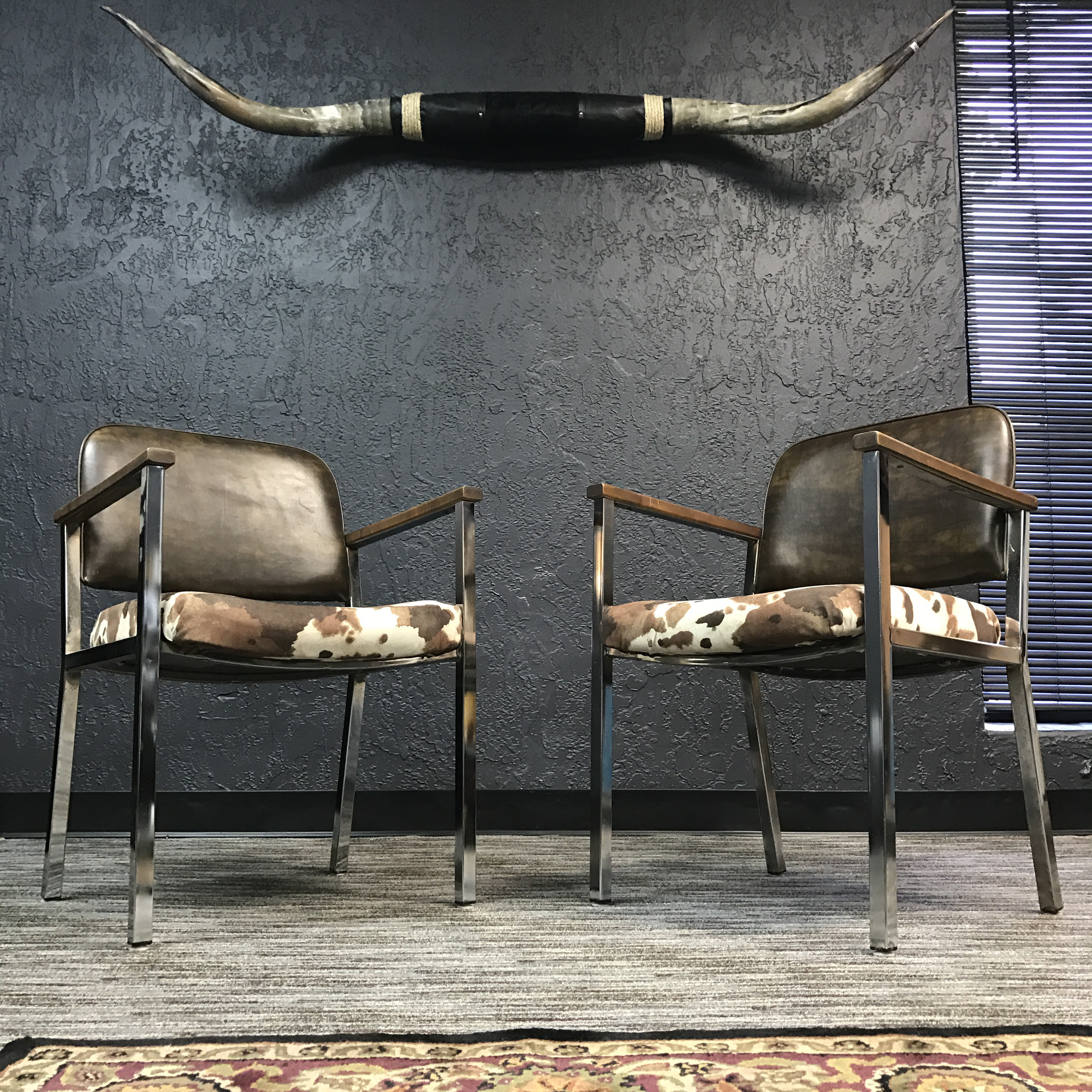Mid Century Faux Cowhide Chairs   A Pair   Image 2 Of 8