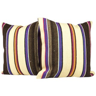 Matching Turkish Striped Kilim Pillows - A Pair