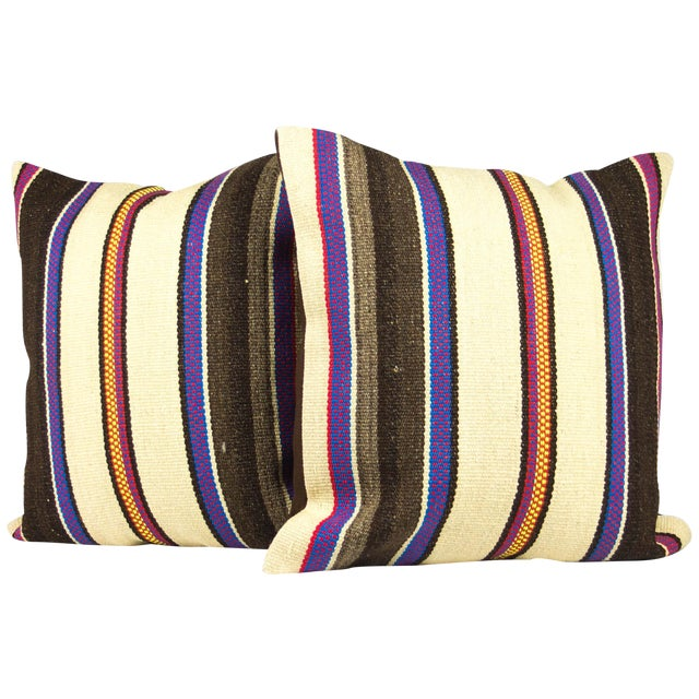 Image of Matching Turkish Striped Kilim Pillows - A Pair