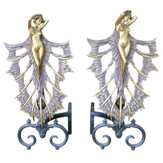 French Art Deco Style Nude Figural Female Andirons