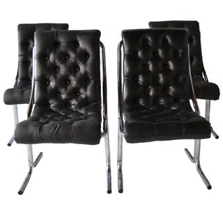 1970s Tufted & Chrome Dining Chairs - Set of 4
