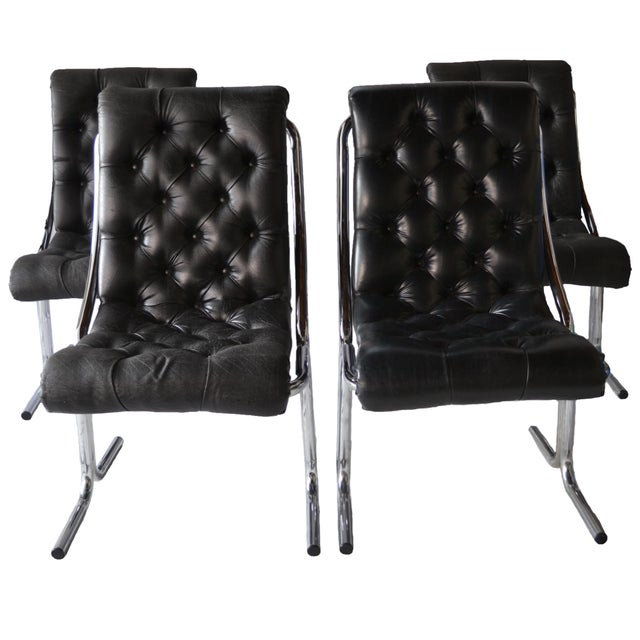 Image of 1970s Tufted & Chrome Dining Chairs - Set of 4