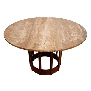 Harvey Probber-Style Travertine Top Dining Table