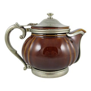 1920s Brown & Silver Hotel One Cup Teapot