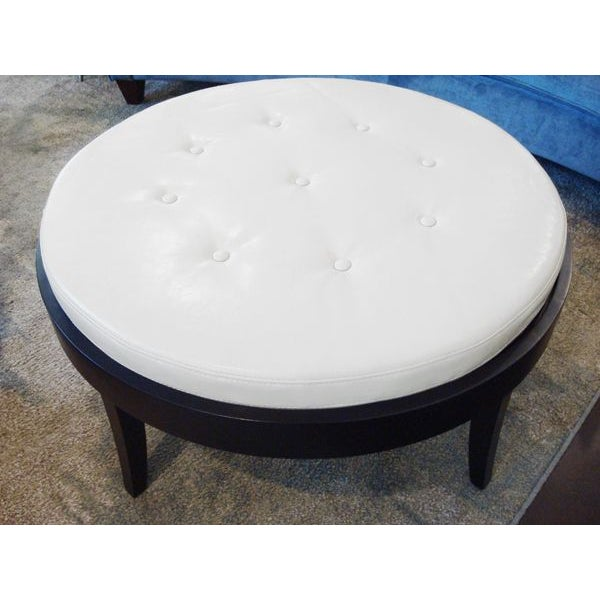 Round cream leather tufted coffee table ottoman chairish Round leather ottoman coffee table