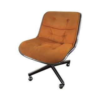 Charles Pollock for Knoll Orange Wool Office Chair