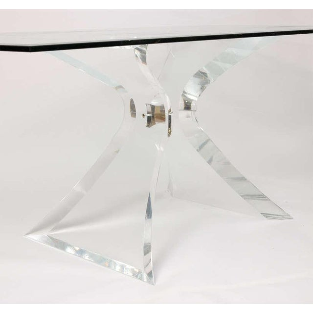 """Image of Lion in Frost """"X"""" Base Lucite Table Base"""