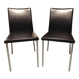 Black Vinyl & Polished Aluminum Chairs - A Pair