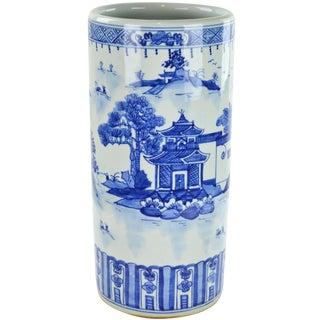 Blue & White Chinoiserie Umbrella Stand