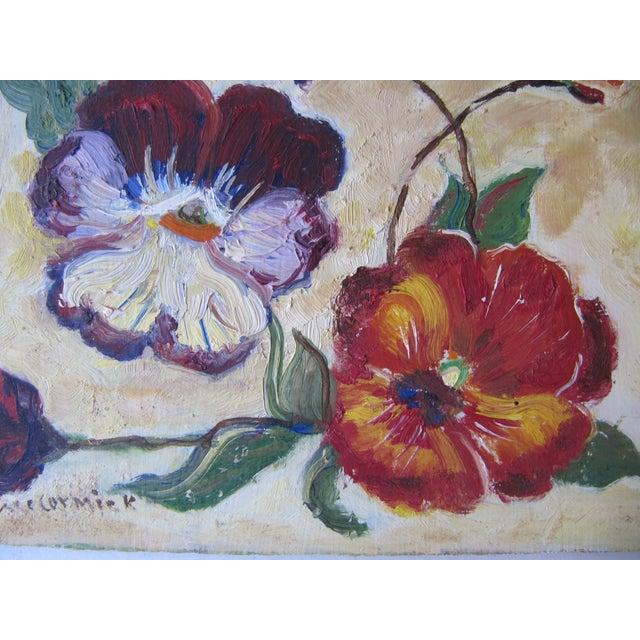 Vivid Vintage Flower Paintings- A Pair - Image 6 of 8