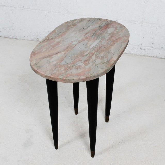 Image of Pink Marble Top Accent Tables - Pair