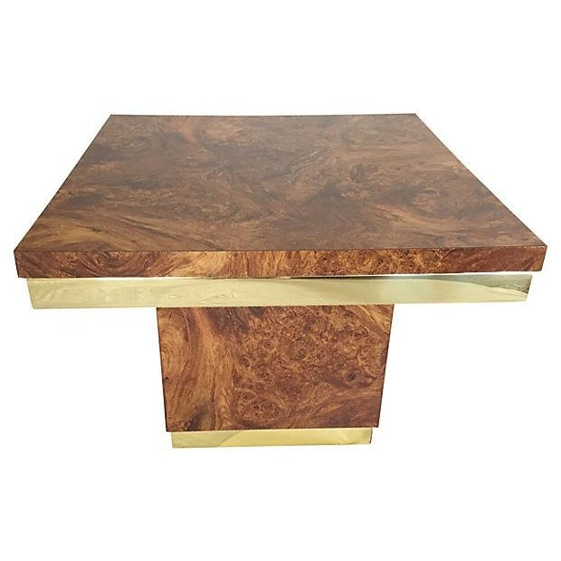 Burl and Brass Accent Table - Image 2 of 5