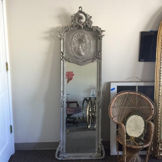 Grey Relief Beveled Floor Mirror - Image 2 of 7