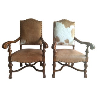 Custom Leather and Cowhide Armchairs - A Pair