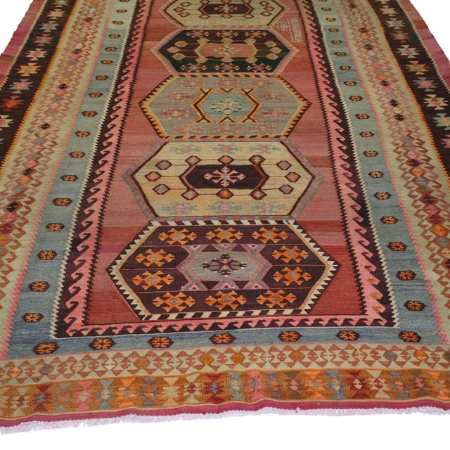 "Vintage Turkish Kilim Rug - 7' X 13'3"" - Image 5 of 8"