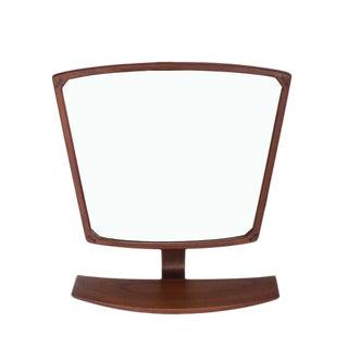 Danish Mid-Century Modern Adjustable Wall Mirror with Shelf
