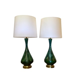 Vintage Green Ceramic Lamps - A Pair