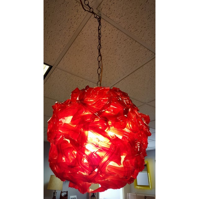 """Image of Mid Century """"Spun Glass"""" Red and White Swag Light"""