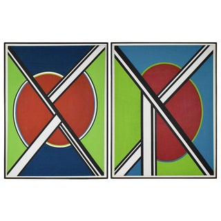 Pair of Very Large Mondrian Style Geometric Acrylic Paintings