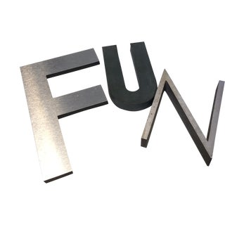 "Vintage ""Fun"" Metal Letters - Set of 3"
