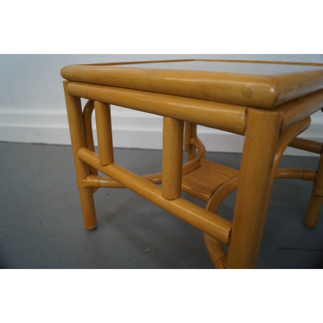 Bamboo Square Table: Rattan Bamboo Square Glass Top Low Tables - Pair