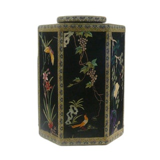 Chinese Hexagonal Lidded Embroidered Container