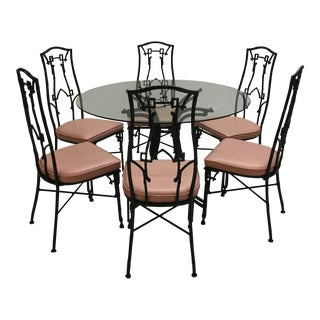 Chinoiserie Pink & Black Faux Bamboo Dining Chairs and Table