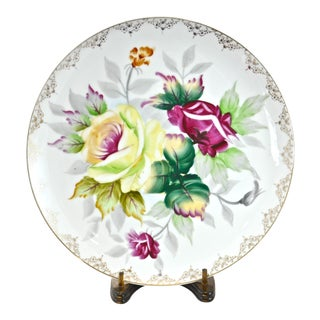 Hand-Painted Rose Porcelain Plate & Stand