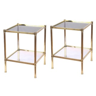 Good Quality Pair of French Roche Bobois 1980s Solid Brass Square Side Tables
