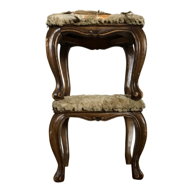 Fur-Topped Distressed Antique Footstools - A Pair - Image 1 of 7