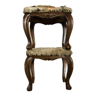Fur-Topped Distressed Antique Footstools - A Pair